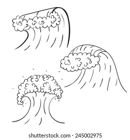 Wave style doodle. Vector sketch.