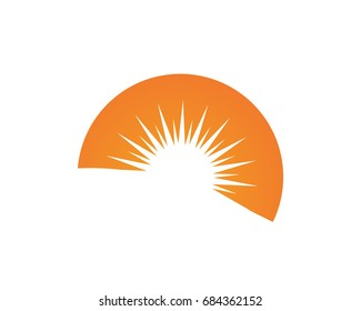 Wave and sun logo and symbols