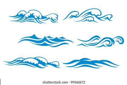 Wave symbols set for design isolated on white background, such  emblem or logo template. Jpeg version also available in gallery