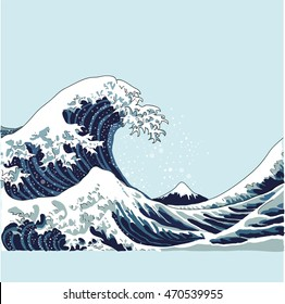 wave vector illustration Japanese motif. japan background. hand drawn illustration of japan