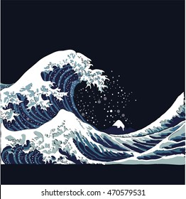 wave vector illustration Japanese motif. japan background. hand drawn illustration of japan. sea waves on a dark background. Ocean waves in Asian style at night.