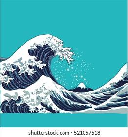 wave vector illustration Japanese motif. japan background. hand drawn illustration of japan. waves on a turquoise background