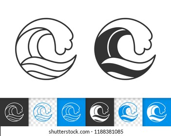 Wave water black linear and silhouette icons. Thin line sea sign. Splash black outline pictogram isolated on white, color, transparent background. Vector Icon clipart shape. Wave simple symbol closeup