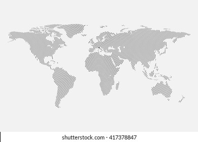 Wave world map vector isolated on white background. Centric circles. Modern trendy  template for website, infographics.