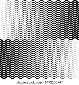 Waved distorted horizontal black lines, Op art. Abstract background. For prints, web and template