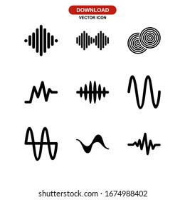 waveform icon or logo isolated sign symbol vector illustration - Collection of high quality black style vector icons