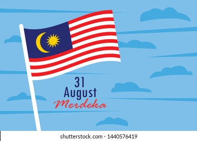 Wavering Malaysia flag in the blue sky. flat vector design. 31 august celebration of Malaysia's independence day.