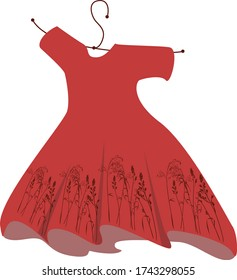 Wavering red dress with a print of meadow grass.