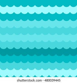 Waves background seamless vector, blue flat wave pattern repeated seamlessly, simple cartoon sea waves decoration