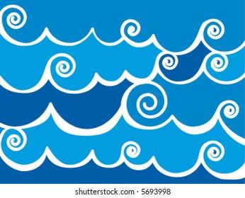 Waves blue background. Vector illustration