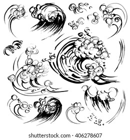 Waves brush ink sketch handdrawn serigraphy print set