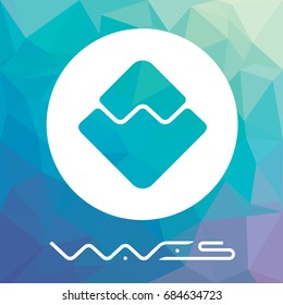 Waves decentralized blockchain crypto currency coin. Waves platform vector logo.