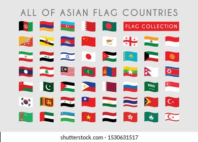 Waves Flag of Asian Country, All set Asian Country flag template design. Vector Eps 10