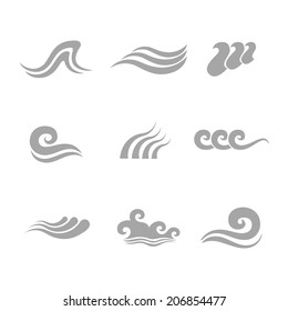 Waves flowing water sea ocean icons set isolated vector illustration