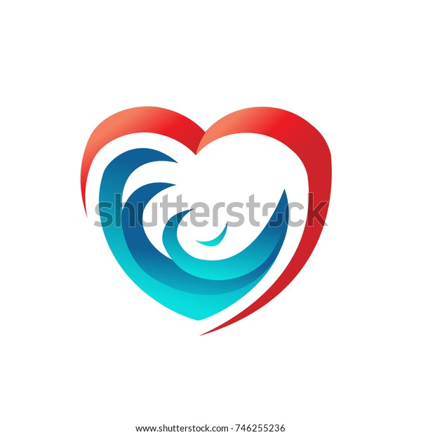 waves in heart logo, ocean in harts, love sea logo, loving sea logo, water in heart, symbol design, isolated on white background.