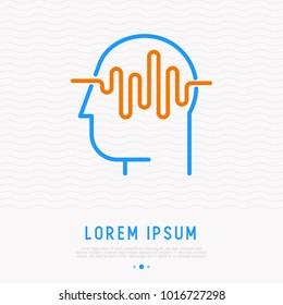 Waves in human head thin line icon. MOdern vector illustration of brain activity.