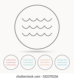 Waves icon. Sea flowing sign. Water symbol. Linear circle icons.
