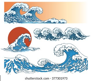 Waves in japanese style. Storm on sea or ocean, splash. Vector illustration