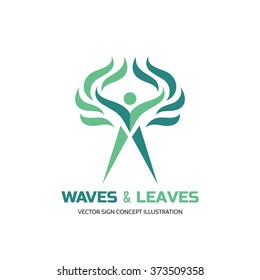 Waves & leaves - vector logo template. Human character creative illustration. Nature ecology sign. Eco people man symbol. Health woman icon. Healthcare concept.