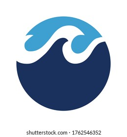 Waves logo concept in blue colours