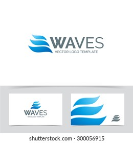 Waves logo template. Corporate branding identity for cosmetics