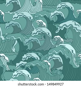 Waves of ocean seamless pattern in asian style
