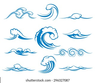 Waves of sea or ocean waves, blue water, splash and gale, vector illustration