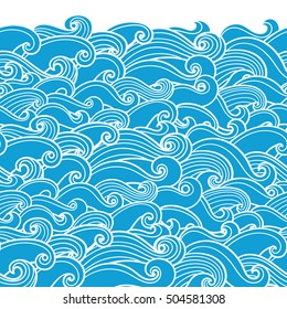 Waves seamless border pattern. May be used like an Invitation card design. Vector illustration with sea waves.