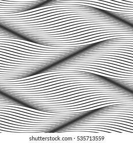 Waves seamless pattern. Wavy surface background. Optical illusion of smooth 3D wave lines groove effect. Vector groovy backdrop for textile or wrapping paper, interior design
