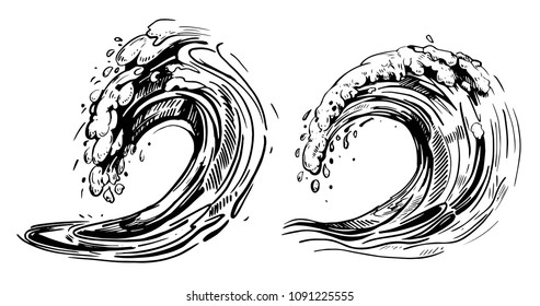 Waves sketch. Hand drawn illustration converted to vector