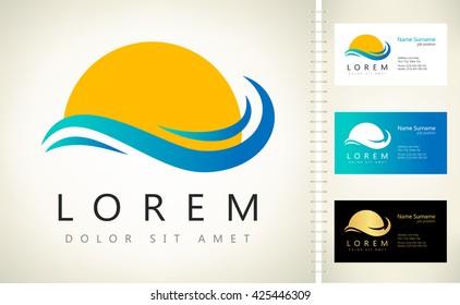 waves and sun logo vector