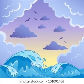 Waves theme image 2 - vector illustration.