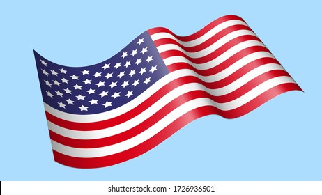 Waving America Flag Vector Isolated on blue Background