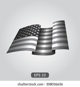 waving American flag. Black-and-white engraving vintage style