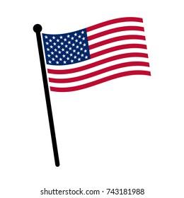 Waving American flag on the mast icon