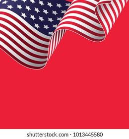 Waving American flag on red background