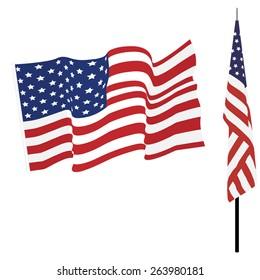 Waving american flag and flag on stand, usa flag vector set isolated