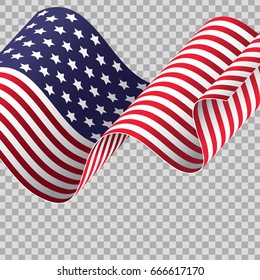 Waving American flag on transparent background. Patriotic holidays suitable. Independence day, Memorial day, Labor day. Vector illustration