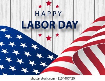 waving American flag with typography Labor Day, September 7th. Happy Labor Day holiday banner with brush stroke background in United States national flag colors and hand lettering text design.