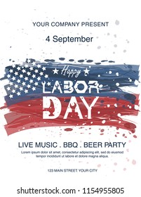Waving American flag with typography Labor Day, September 7th, United state of America, American Labor day design. Beautiful USA flag Composition. Labor Day poster design