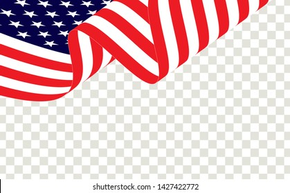Waving american flag of the united states of america or USA. Waving American flag isolated on transparent background, vector.