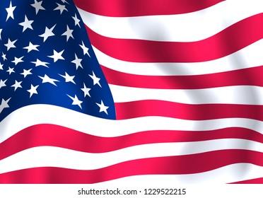 Waving American flag.Vector USA flag background.