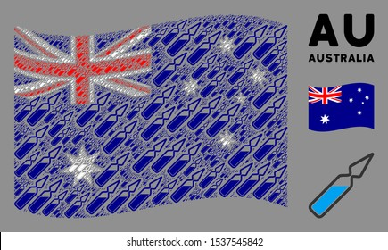 Waving Australia flag. Vector ampoule design elements are placed into conceptual Australia flag abstraction. Patriotic concept combined of flat ampoule design elements.