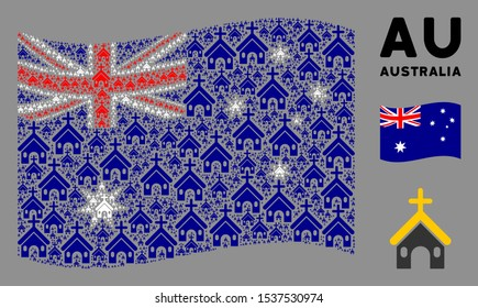 Waving Australia official flag. Vector Christian church design elements are formed into geometric Australia flag composition. Patriotic composition designed of flat Christian church design elements.