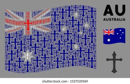 Waving Australia official flag. Vector Christian cross design elements are placed into conceptual Australia flag illustration. Patriotic composition composed of flat Christian cross design elements.