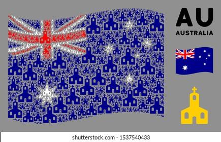 Waving Australia official flag. Vector Christian church elements are arranged into geometric Australia flag illustration. Patriotic illustration done of flat Christian church elements.