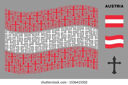 Waving Austria state flag. Vector Christian cross icons are united into geometric Austria flag collage. Patriotic collage created of flat Christian cross design elements.
