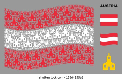 Waving Austria state flag. Vector Christian church design elements are combined into conceptual Austria flag collage. Patriotic collage done of flat Christian church elements.
