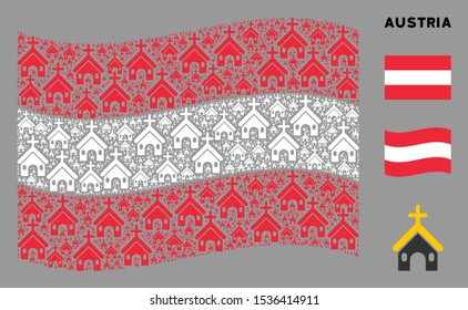 Waving Austrian state flag. Vector Christian church design elements are grouped into geometric Austrian flag abstraction. Patriotic illustration created of flat Christian church elements.