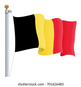 Waving Belgium Flag Isolated On A White Background. Vector Illustration. Official Colors And Proportion. Independence Day